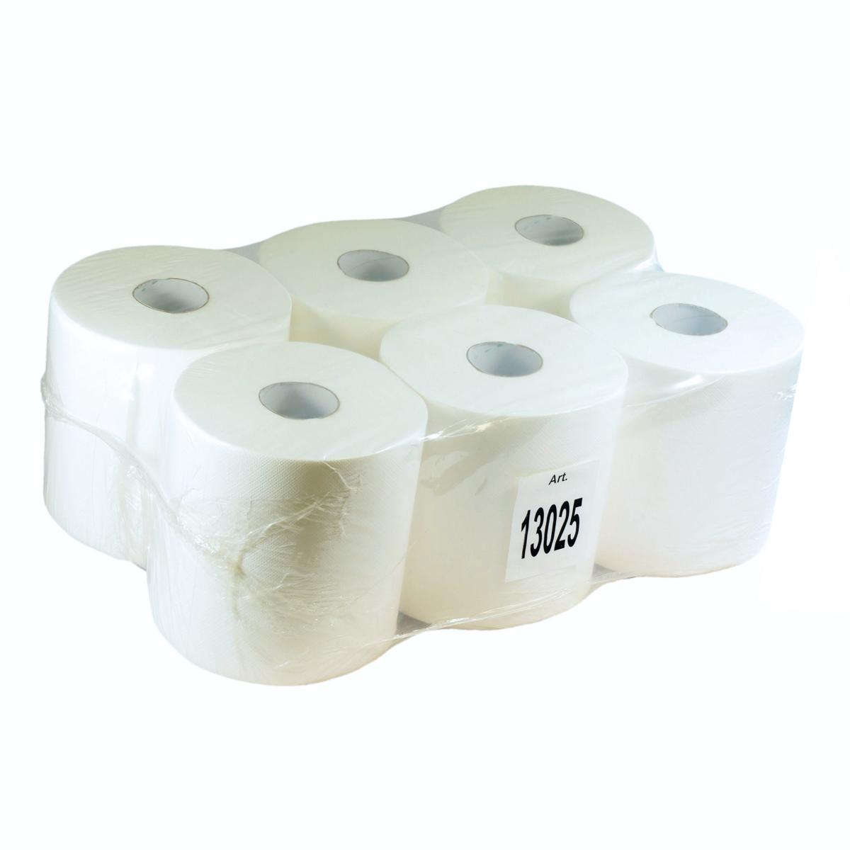 Papierhandtücher Rollenhandtücher Innenabrollung 2-lagig, Zellulose weiß, 153 m, ACTION 450 | 6 Rollen _ passend für Spender 72216