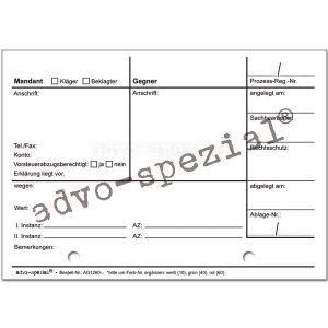 Prozessregister-Karteikarten, Einzelkarte, weiß