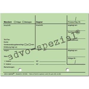 Prozessregister-Karteikarten, Einzelkarte, grün
