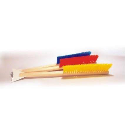 Schneebesen mit Eiskratzer, Länge ca. 48 cm _ weiche Borsten am Holzgriff, Kunststoff-Eisschaber