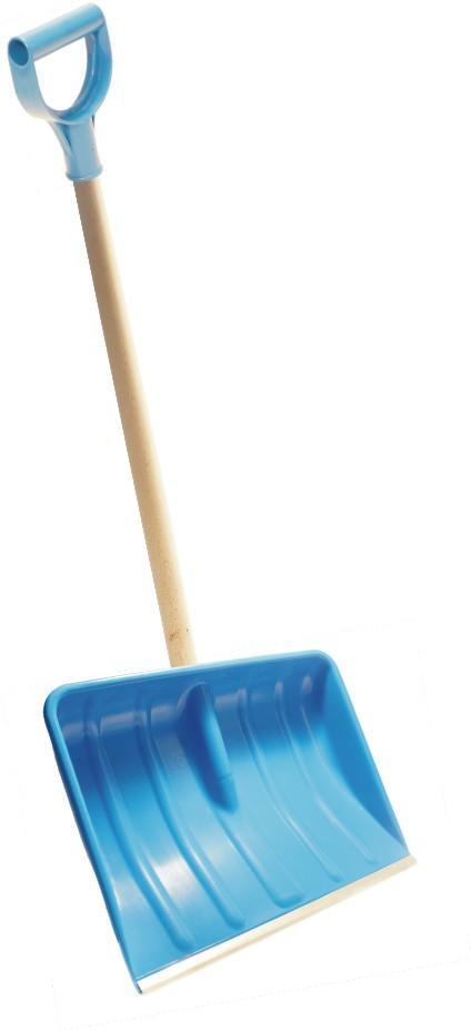 Schneeschieber 54 cm breit, blau mit Alukante _ komplett mit Holzstiel und Kunststoffgriff