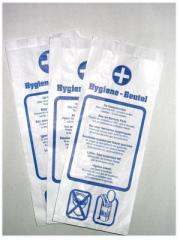 Hygienebindenbeutel, Spezialpapier, 4-sprachiger Hinweistext | 1000 Stück _ passend für Hygeinebindenbeutel-Spender 72214