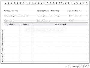Namenskartei Notariat - Einzelkarte weiß