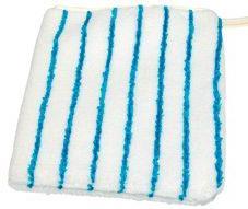 Reinigungshandschuh Mikrofaser weiß mit blauen Borstenstreifen