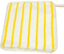 Reinigungshandschuh Mikrofaser weiß mit gelben Borstenstreifen